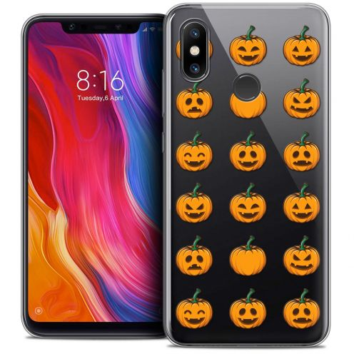 "Coque Crystal Gel Xiaomi Mi 8 (6.21"") Extra Fine Halloween - Smiley Citrouille"