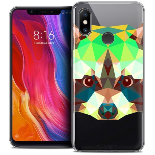 "Coque Crystal Gel Xiaomi Mi 8 (6.21"") Extra Fine Polygon Animals - Raton Laveur"