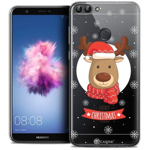 "Coque Crystal Gel Huawei P Smart (5.7"") Extra Fine Noël 2017 - Cerf à Echarpe"