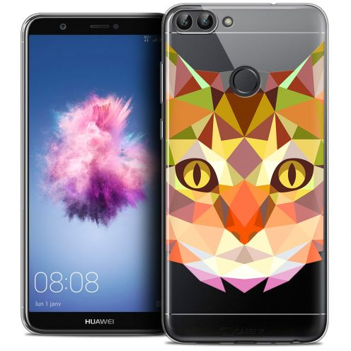 """Coque Crystal Gel Huawei P Smart (5.7"""") Extra Fine Polygon Animals - Chat"""