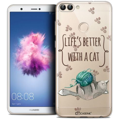 "Coque Crystal Gel Huawei P Smart (5.7"") Extra Fine Quote - Life's Better With a Cat"