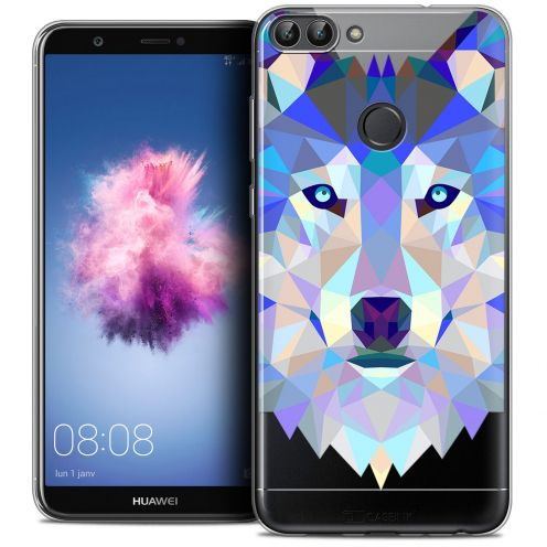 "Coque Crystal Gel Huawei P Smart (5.7"") Extra Fine Polygon Animals - Loup"