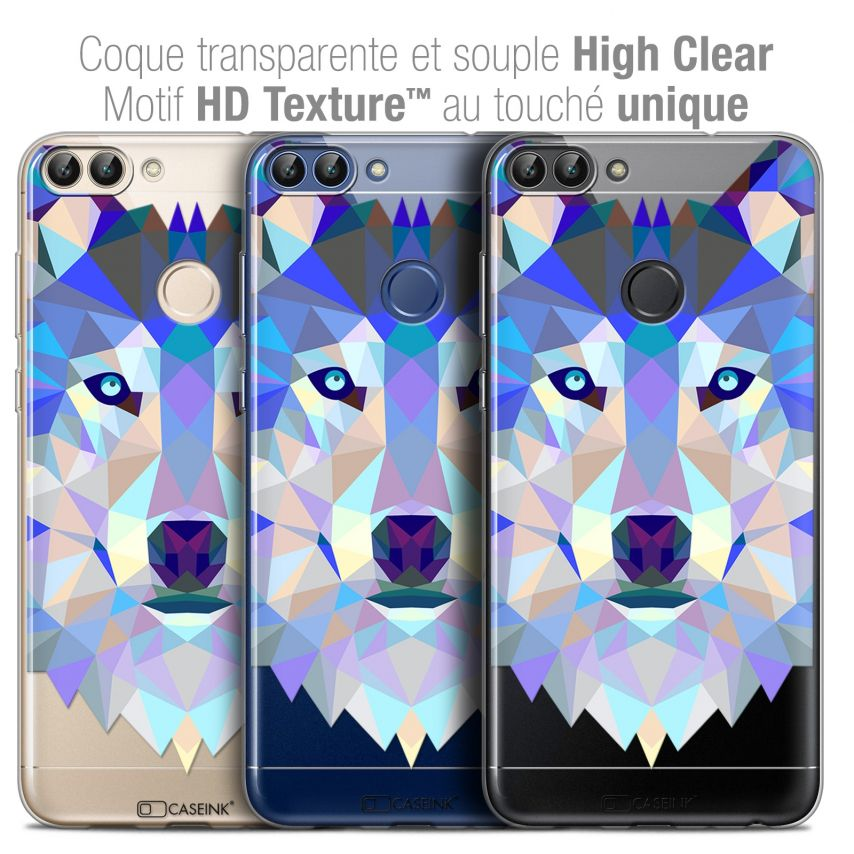 """Coque Crystal Gel Huawei P Smart (5.7"""") Extra Fine Polygon Animals - Loup"""