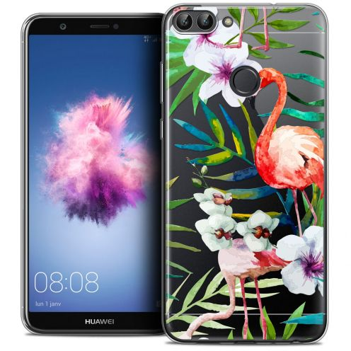 "Coque Crystal Gel Huawei P Smart (5.7"") Extra Fine Watercolor - Tropical Flamingo"