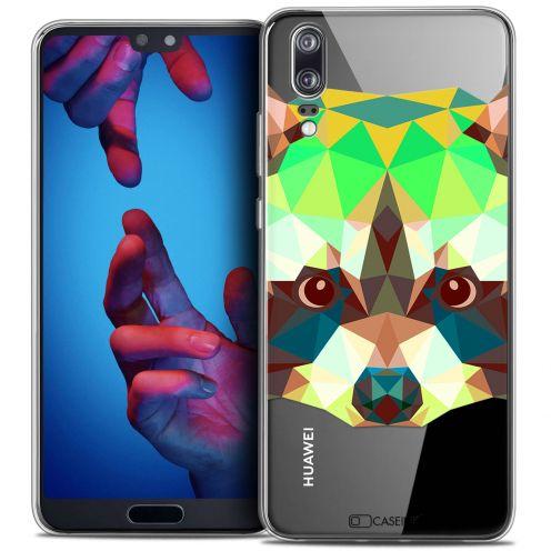 "Coque Crystal Gel Huawei P20 (5.8"") Extra Fine Polygon Animals - Raton Laveur"