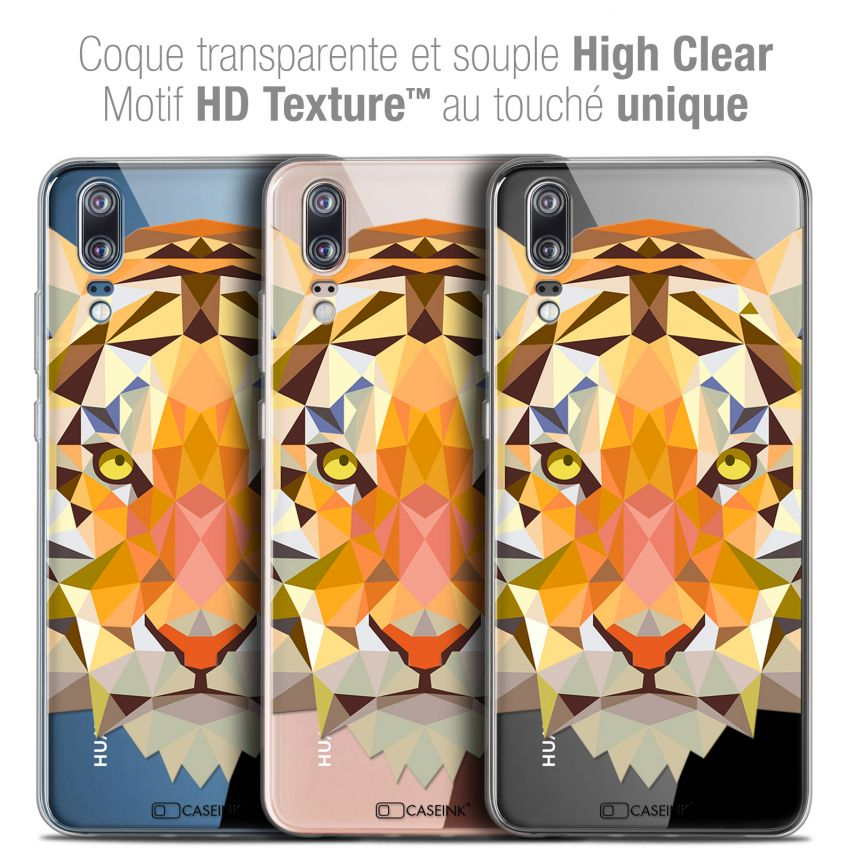 "Coque Crystal Gel Huawei P20 (5.8"") Extra Fine Polygon Animals - Tigre"