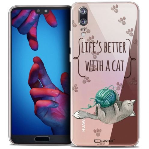 "Coque Crystal Gel Huawei P20 (5.8"") Extra Fine Quote - Life's Better With a Cat"