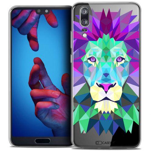 "Coque Crystal Gel Huawei P20 (5.8"") Extra Fine Polygon Animals - Lion"