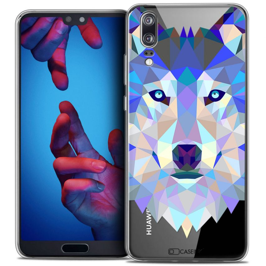 "Coque Crystal Gel Huawei P20 (5.8"") Extra Fine Polygon Animals - Loup"