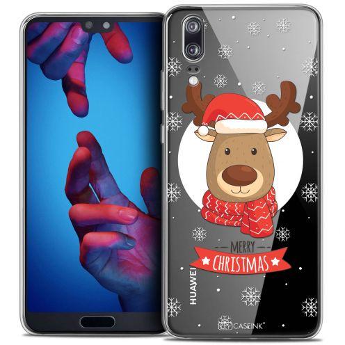 "Coque Crystal Gel Huawei P20 (5.8"") Extra Fine Noël 2017 - Cerf à Echarpe"