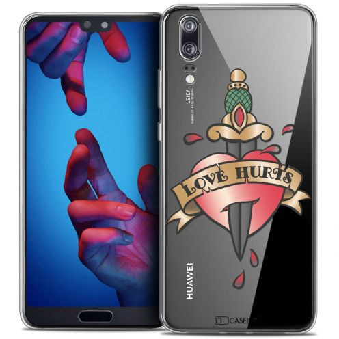 "Coque Crystal Gel Huawei P20 (5.8"") Extra Fine Tatoo Lover - Love Hurts"