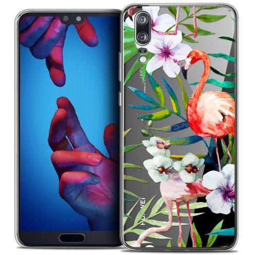 "Coque Crystal Gel Huawei P20 (5.8"") Extra Fine Watercolor - Tropical Flamingo"