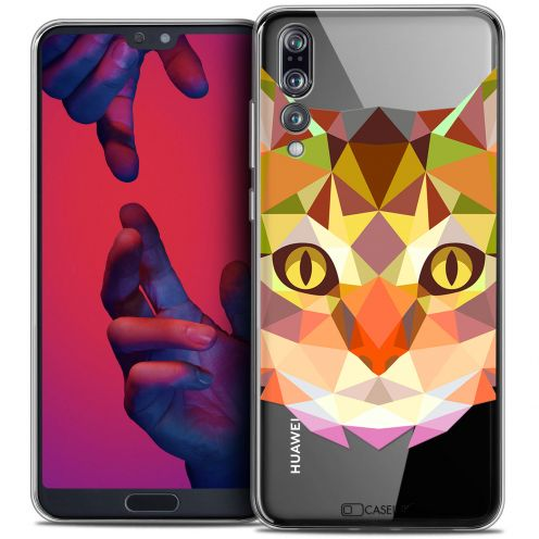 "Coque Crystal Gel Huawei P20 PRO (6.1"") Extra Fine Polygon Animals - Chat"