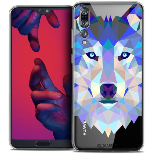 "Coque Crystal Gel Huawei P20 PRO (6.1"") Extra Fine Polygon Animals - Loup"