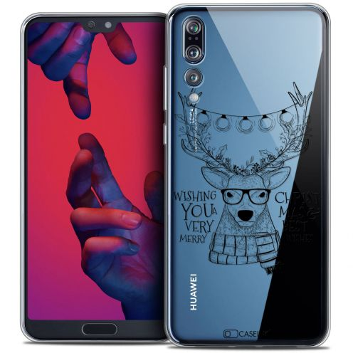 "Coque Crystal Gel Huawei P20 PRO (6.1"") Extra Fine Noël 2017 - Cerf Hipster"