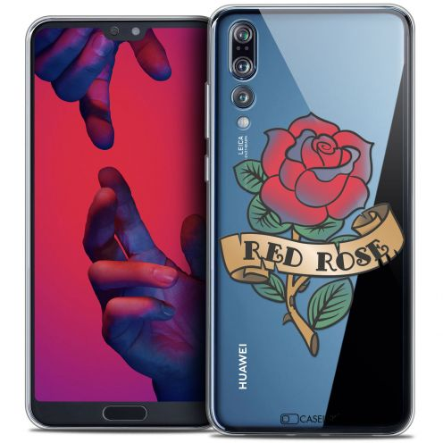 "Coque Crystal Gel Huawei P20 PRO (6.1"") Extra Fine Tatoo Lover - Red Rose"