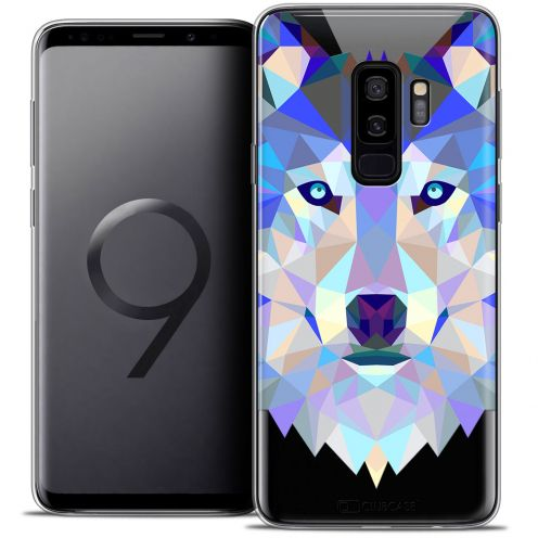 "Coque Crystal Gel Samsung Galaxy S9+ (6.2"") Extra Fine Polygon Animals - Loup"
