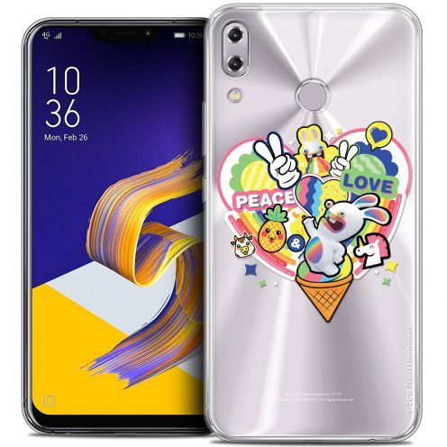 "Coque Gel Asus Zenfone 5z ZS620KL (6.2"") Extra Fine Lapins Crétins™ - Peace And Love"