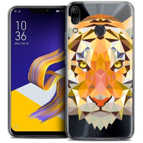 "Coque Crystal Gel Asus Zenfone 5z ZS620KL (6.2"") Extra Fine Polygon Animals - Tigre"