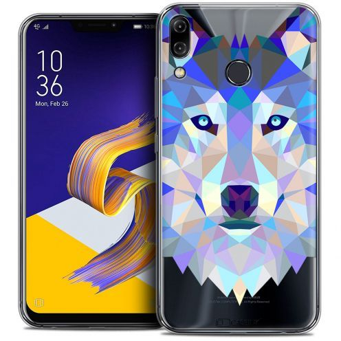 """Coque Crystal Gel Asus Zenfone 5z ZS620KL (6.2"""") Extra Fine Polygon Animals - Loup"""