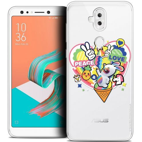 "Coque Gel Asus Zenfone 5 LITE ZC600KL (6.2"") Extra Fine Lapins Crétins™ - Peace And Love"