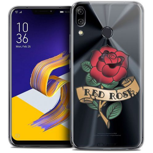 "Coque Crystal Gel Asus Zenfone 5z ZS620KL (6.2"") Extra Fine Tatoo Lover - Red Rose"