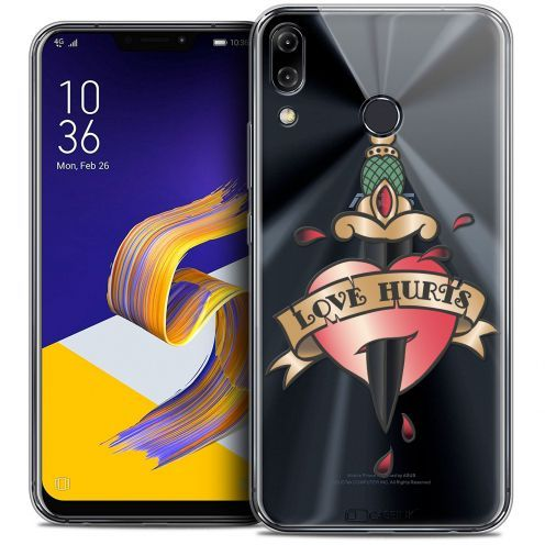 """Coque Crystal Gel Asus Zenfone 5z ZS620KL (6.2"""") Extra Fine Tatoo Lover - Love Hurts"""