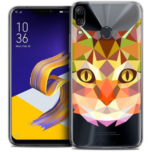 "Coque Crystal Gel Asus Zenfone 5 ZE620KL (6.2"") Extra Fine Polygon Animals - Chat"