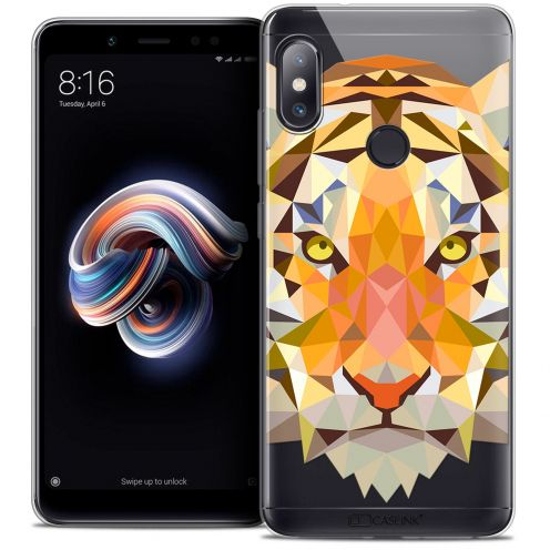 "Coque Crystal Gel Xiaomi Redmi Note 5 (5.99"") Extra Fine Polygon Animals - Tigre"