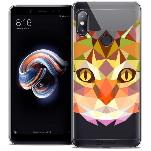 "Coque Crystal Gel Xiaomi Redmi Note 5 (5.99"") Extra Fine Polygon Animals - Chat"