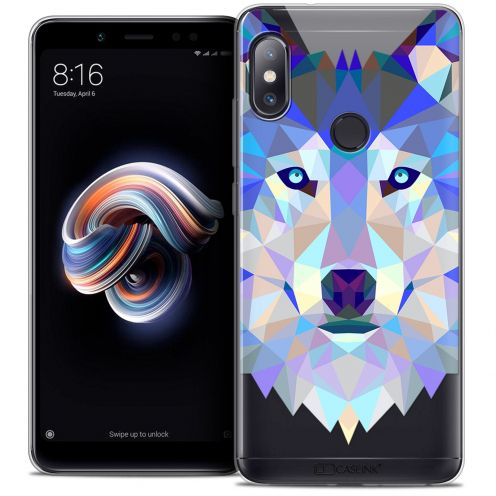 "Coque Crystal Gel Xiaomi Redmi Note 5 (5.99"") Extra Fine Polygon Animals - Loup"