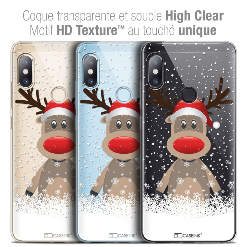 "Coque Crystal Gel Xiaomi Redmi Note 5 (5.99"") Extra Fine Noël 2017 - Cerf au Bonnet"
