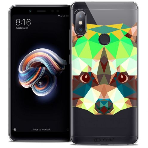 "Coque Crystal Gel Xiaomi Redmi Note 5 (5.99"") Extra Fine Polygon Animals - Raton Laveur"