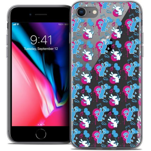 "Coque Gel Apple iPhone 8 (4.7"") Extra Fine Lapins Crétins™ - Rugby Pattern"
