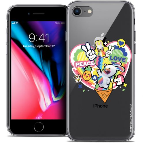 "Coque Gel Apple iPhone 8 (4.7"") Extra Fine Lapins Crétins™ - Peace And Love"