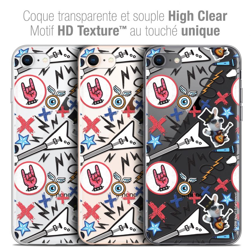 """Coque Gel Apple iPhone 7 (4.7"""") Extra Fine Lapins Crétins™ - Rock Pattern"""