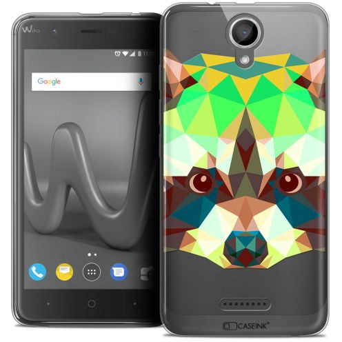 "Coque Crystal Gel Wiko Harry (5"") Extra Fine Polygon Animals - Raton Laveur"