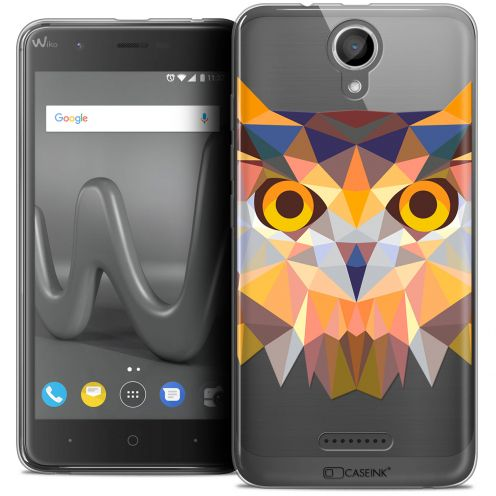 "Coque Crystal Gel Wiko Harry (5"") Extra Fine Polygon Animals - Hibou"