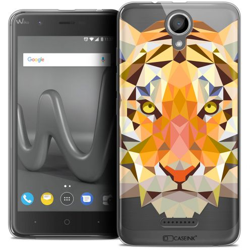 "Coque Crystal Gel Wiko Harry (5"") Extra Fine Polygon Animals - Tigre"