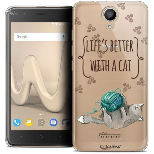 "Coque Crystal Gel Wiko Harry (5"") Extra Fine Quote - Life's Better With a Cat"