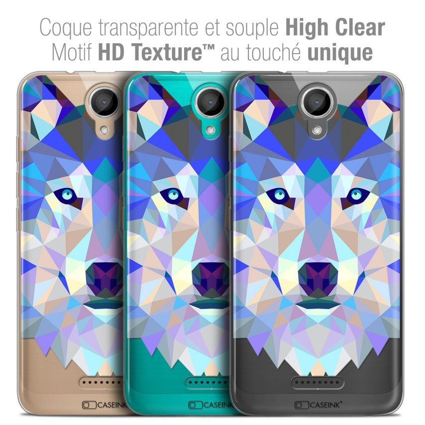 "Coque Crystal Gel Wiko Harry (5"") Extra Fine Polygon Animals - Loup"