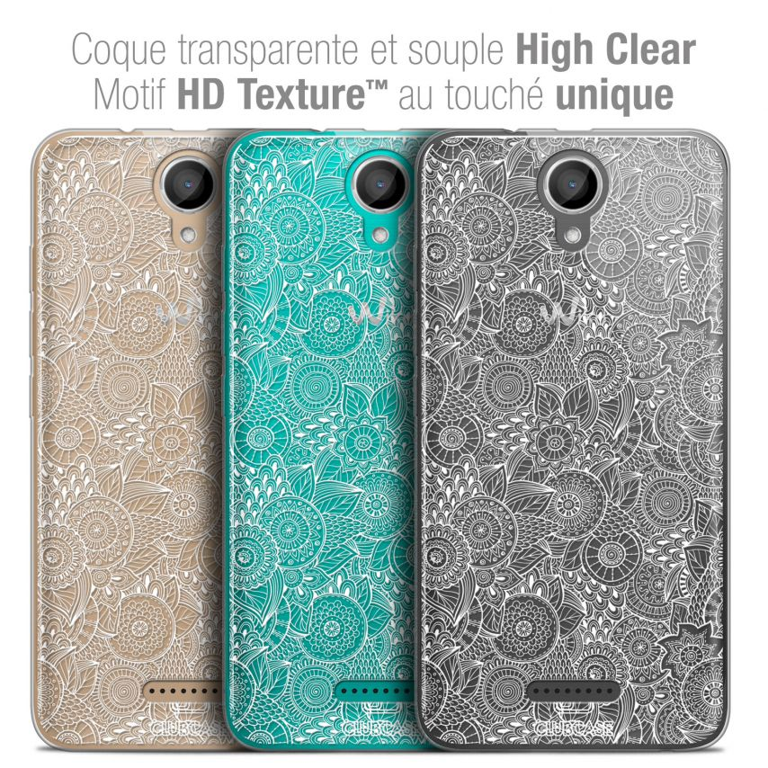"Coque Crystal Gel Wiko Harry (5"") Extra Fine Dentelle Florale - Blanc"