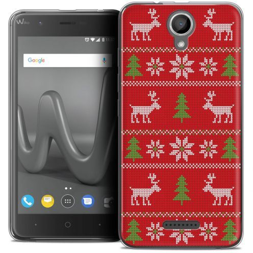 "Coque Crystal Gel Wiko Harry (5"") Extra Fine Noël 2017 - Couture Rouge"