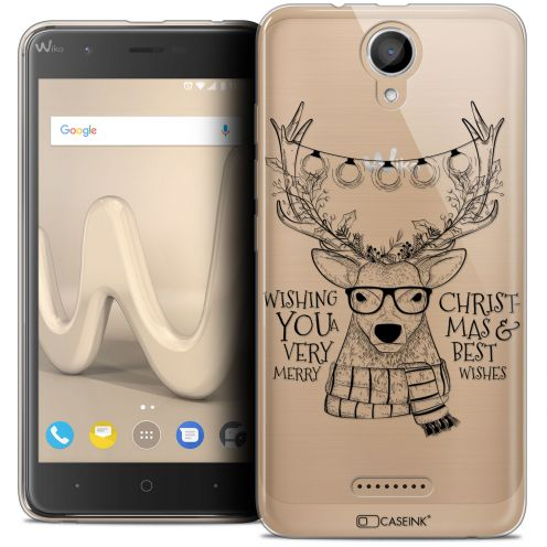 "Coque Crystal Gel Wiko Harry (5"") Extra Fine Noël 2017 - Cerf Hipster"