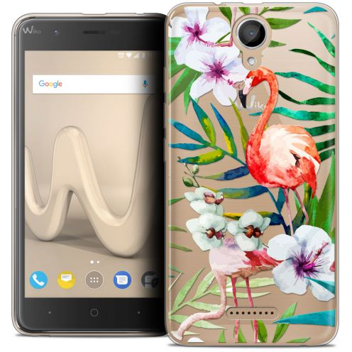 "Coque Crystal Gel Wiko Harry (5"") Extra Fine Watercolor - Tropical Flamingo"