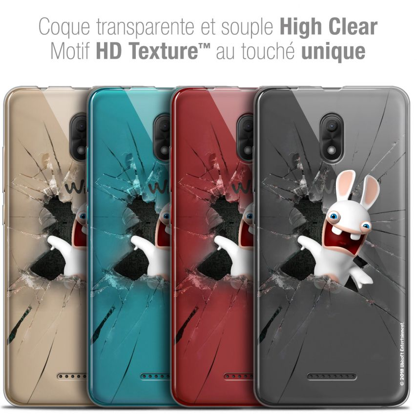 """Coque Gel Wiko Jerry 3 (5.45"""") Extra Fine Lapins Crétins™ - Breaking Glass"""