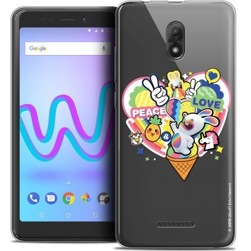 "Coque Gel Wiko Jerry 3 (5.45"") Extra Fine Lapins Crétins™ - Peace And Love"
