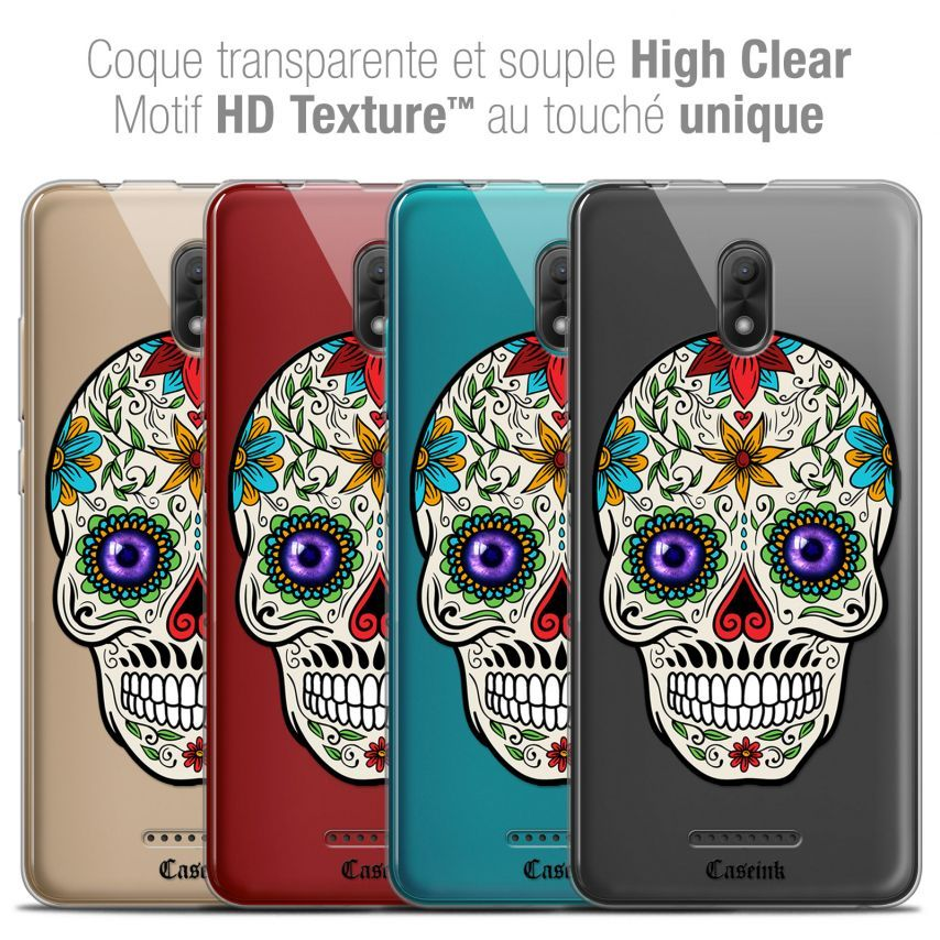"Coque Crystal Gel Wiko Jerry 3 (5.45"") Extra Fine Skull - Maria's Flower"