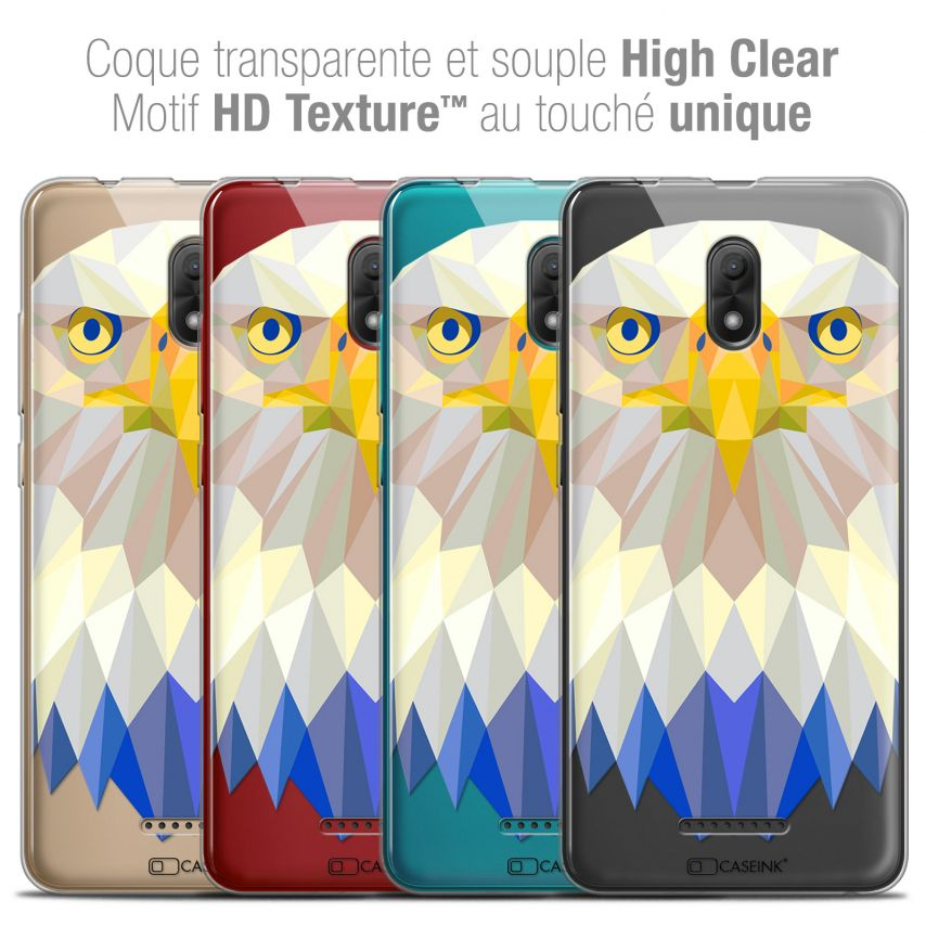 "Coque Crystal Gel Wiko Jerry 3 (5.45"") Extra Fine Polygon Animals - Aigle"
