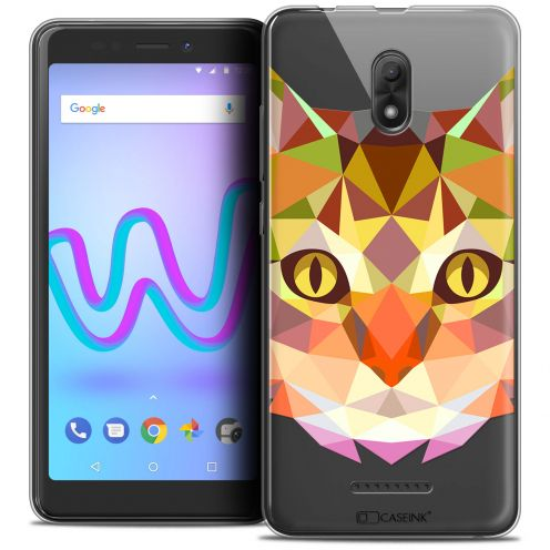 """Coque Crystal Gel Wiko Jerry 3 (5.45"""") Extra Fine Polygon Animals - Chat"""